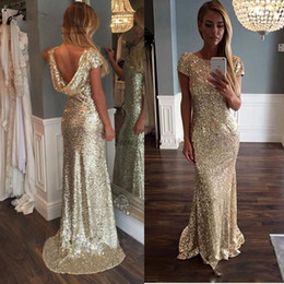 Robe De Soirée Longue Et Sexy Pas Cher-Robes de soirée Long 2017 Cheap Gold Sequin Backless African Mermaid Prom Robes Formal vestidos de noiva formatura