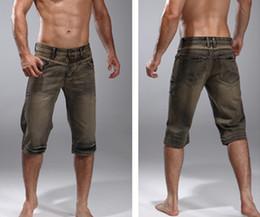 Wholesale Free Shipping 2015 Summer Mens Clothing Vintage Denim Capris Male Shorts Slim Casual Plus Size Z10