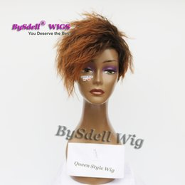 fringe wigs 2019 - Premium Natural Look Black Root Ombre Burnt Brown Color Wig Synthetic Short Pixie Cut Curly Fringe free part Wigs for Bl