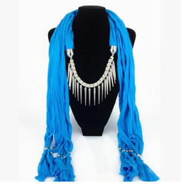 Wholesale Mixed Design Pendant Scarf Jewelry Women Necklace Scarf Fashion Style Beads Tassel Soft Scarf MOQ 50 pcs