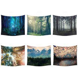 Galaxy Stars Tapestry Rainforest Beautiful Paesaggio Bellissimo Paesaggio multiuso stampato parete appeso a casa Decorazione della casa Beach Yoga Mat in Offerta