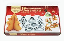 $enCountryForm.capitalKeyWord Canada - 5sets lot, 8ppcs set DIY Christmas tree baking tools 3D stainless steel cookie press cutters stamp moulds 8pieces kitchen supplies