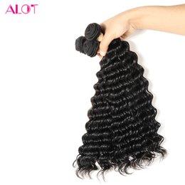 Wave Human Hair Bundles Canada - ALOT Malaysian Hair Deep Wave 3 Bundles 100% Virgin Human Hair Bundles 100% Unprocessed Natural Color Human Hair Extensions 8-26inch