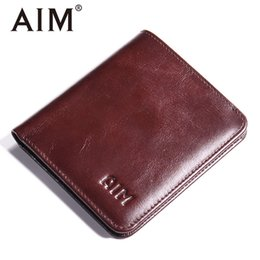 Discount mens wallet coin purses - Wholesale- AIM Oil Wax Genuine Leather Mens Wallet Small Brand Vintage Bag Coin Purse Slim Cow Leather Short Wallets Men
