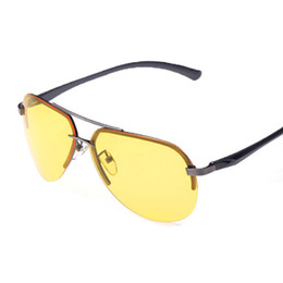 vision alloy 2019 - Wholesale- 2016 Yellow Polarized Night Vision Glasses points rimless driving eye glases lentes gafas oculos culos de sol