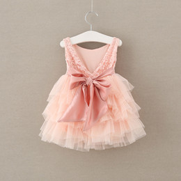 $enCountryForm.capitalKeyWord Canada - Rose Flower Dress Children Clothing Girl's Dresses Bubble TUTU Lace Dress Big Bowknot Backless Ball Gown Tulle Party Dress Pink A6309