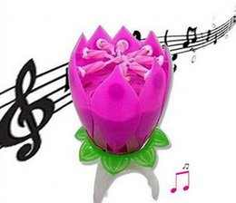 Vente en gros Lotus Flower Music Candle Beautiful Blossom Lotus Flower Candle Birthday Party Cake Musique Sparkle Cake Topper Rotation Bougie Bougies Bougies