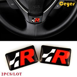 ibiza sticker Canada - Car Styling Personalized Plastic Drop Stickers for Seat R Badge leon ibiza altea alhambra Cute Glue Sticker Car Accessories Styling 2PCS LOT