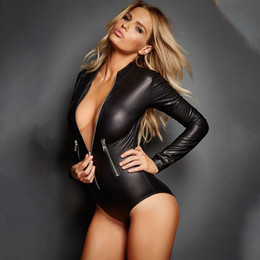 rompers catsuit jumpsuits Canada - Sexy Women Jumpsuit Wet Look Bodysuit Latex Catsuit PU Leather Playsuits Zipper Long Sleeve Fetish Overalls Rompers Outfits Clubwear Costume
