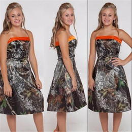 blue camo bridesmaid dresses Canada - Forest Camouflage Camo Bridesmaid Dresses A Line Strapless Backless Tea Length Country Style Gowns 2017