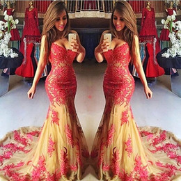 Lace evening dresses fast deLivery online shopping - Mermaid Prom Dresses Long Sweetheart Lace Appliques Tulle Girls Pageant Party Gowns Count Train Fast Delivery Vestidos Evening Dress Long