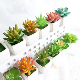 Fake potted Flowers online shopping - Mini Simulation Succulents Tropical Cactus Fake Flowers Zakka Artificial Potted Plants With Vase Bonsai For Office Home Decorative fm R