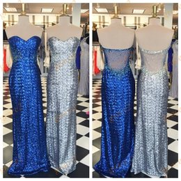 Barato Imagens De Dance Dress-Silver Sequins Prom Dresses 2k17 com Sweetheart Neckline e Illusion Back Imagens reais Blue Ring Dance Dress Military Ball