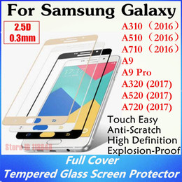 $enCountryForm.capitalKeyWord Canada - 100pcs 2.5D Silk Printing Full Cover Tempered Glass For Samsung Galaxy A3 A5 A7 (2016) (2017) A9 Pro S6 S7 Screen Protector