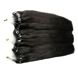 "Chinese  Wholesale- 7a Micro Loop Brazilian Extensions 300g 20""22""24"" Remy Micro Loop Hair Extensions Natural Black Micro Bead Hair Extensions 1g s manufacturers"