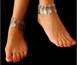 $enCountryForm.capitalKeyWord Canada - Bohemian Vintage Antique Silver Tassel Engraved Pattern Ankle Bracelets Barefoot Sandals Foot Chains Anklets For Girls Ladies