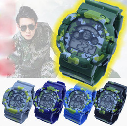 Good Christmas Gifts For Boys NZ - Camouflage watch man 7 colour students sports watches LED chronograph Waterproof army electronic military wristwatch good gift for men boy