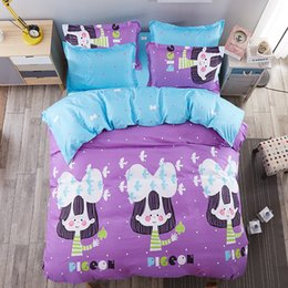 Girls Purple Bedding Sets Canada - Little Girl And Pigeon Bedding Sets Purple Comforter Set Duvet Cover Bed Sheet Sets Single Double Queen King Size 4pcs Bedding
