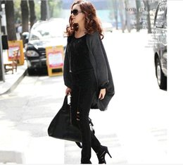 Barato Casaco Vermelho Grande-VERMELHO VERMELHO New New Women's New Krean Autumn Winter batwing casaco shawl sweater knit cardigan loose big yards long coat women wholesale