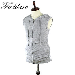 Barato Hoodie Sem Mangas Tanque-Atacado- Moda Men Hoodies Tank Top Men Workout Fitness Vest Men Bodybuilding Top Tees Camisolas sem mangas