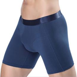 68bdd033cd Boxers largos para hombre apretados hasta la rodilla Pantalones cortos Ropa  interior de deporte de algodón de color sólido moda streched legging Ropa  ...