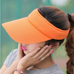$enCountryForm.capitalKeyWord Canada - 2017 Summer Unisex Visor Empty Top Sun Hat Solid Brim Elastic Band Caps Beach UV Protection Hats For Men And Women