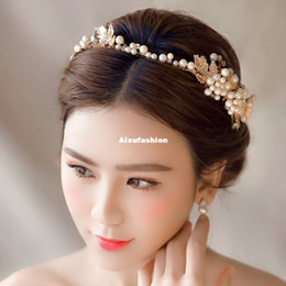 gold leaves Canada - Gold Rhinestone Pearl Hair Jewelry Leaves Bridal Headband Tiara Wedding Hair Accessories Headbands Bridal Hairbands Wedding Gift