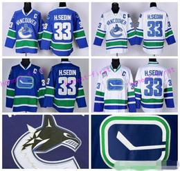 vancouver canucks 33 henrik sedin ice hockey jerseys hsedin sports breathable team color blue third alternate white
