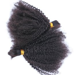 Wholesale brazilian braiding hair online shopping - Mongolian Afro Kinky Curly Human Hair Bulk For Braiding Kinky Curly Hair Bulk Extensions Natural Color inch