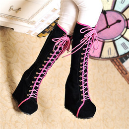 $enCountryForm.capitalKeyWord Canada - Wholesale- 2015 New Ladies Punk Rock Goth Women High Platform Wedge Heels Faux Suede Lace Up Fahsion Knee High Boots Creepers Shoes