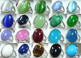 Black Jade Wedding Rings Canada - Wholesale cheap 12*16mm green blue pink purple red black opal  jade  tiger eye stone 18 KGP ring
