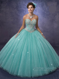 Discount petal bead caps - vestidos de 15 anos with Free Bolero and Sweetheart Neckline Aqua Quinceanera Dresses 2017 Princess in Sparkling Tulle C