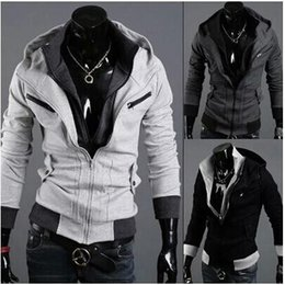 Barato Estilo Assassino Atacado-Wholesale-2015 Hot Sale New Men's Hottest Styles Sweatshirts Soild Suit Hoody Men Vestuário Hoodies Assassins Creed Cardigan Jackets