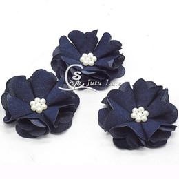 denim hair accessories 2019 - 25 Pcs  Lot ,2 .5 ''Shabby Pearl Denim Flower ,Shabby Denim Chiffon Flower For Children Headband Solid Headwea
