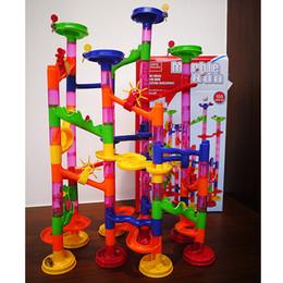 Kids Blocks Wholesale Australia - Marble Run Coaster 105 Pieces, DIY Building Blocks Marble Race. DIY Constructing Maze Toy for All Family. Classic Endless Track Fun Kit