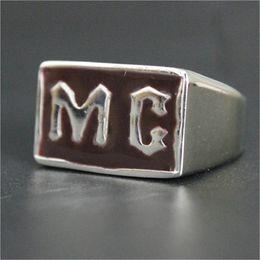 Men Size 15 Rings Australia - 5pcs lot size 7-15 Biker MC Club Ring 316L Stainless Steel Fashion Jewelry Men Boy Persona Design Brown Color MC Ring