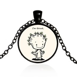 Groot Pendant Australia - Guardians of the Galaxy Groot Necklace I'm Groot Glass Cabochon Necklace Kids Children Fashion Jewelry Drop Ship 162267