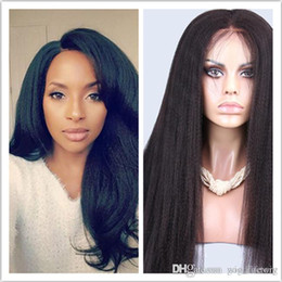 $enCountryForm.capitalKeyWord NZ - hot selling Italian Yaki Straight Wig Glueless Lace Front Human Hair Wigs For Black Women 130% Density Hair Wig in stock