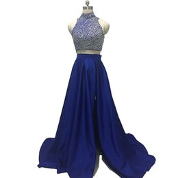 Robe À Deux Col Pas Cher-Deux pièces A-Line Blue Robes de soirée High Neck Off Shoulder Satin Beading Sweep Train New Arrival Party Gowns