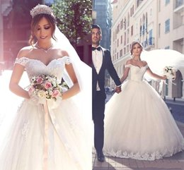 luxury sexy arabic wedding dresses Canada - Arabic Luxury Wedding Dresses Tulle Applique Beaded Off The Shoulder Short Capped Sleeves Ball Gown Lace-up White Vintage Dress