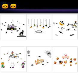 2017 halloween decorations stores halloween decoration store shop window paste glass electrostatic paste holiday bar party - Discount Halloween Decorations