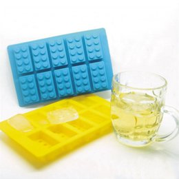 building block mold Canada - Silicone LEGO Brick Style Freezer Ice Cube Tray Ice Mold Maker Bar Party Drink DIY Building Block Sharped Ice Tray 220pcs Free DHL Fedex