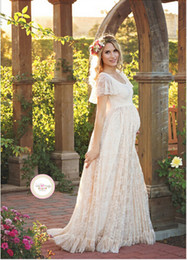 $enCountryForm.capitalKeyWord NZ - Maternity Dress For Photo Shooting Round neck White Dress Maternity Photography Props Short Sleeve Lace Pregnant Pregnancy Dress