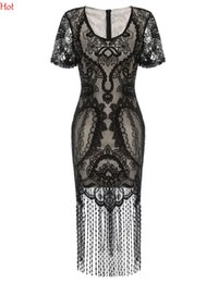 Barato Vestido Borlas Crochet-New Women V Neck Dresses Short Sleeve Vintage Styles Crochet Bordado Vestido Lace Patchwork Fringe Tassels Club Party Dress Black SVH033080