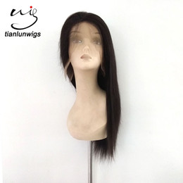 16inch Human Hair Wig Canada - new arrival 16inch silky straight front lace human hair wig with baby hair full lace wig brazilian human hair for sale