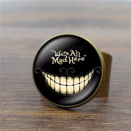 $enCountryForm.capitalKeyWord Canada - Alice In Wonderland Vintage Ring Art Glass Dome Cheshire Cat Rings for Women Jewelry Silver Ring Adjustable 34
