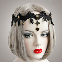 Strass En Ruban Blanc Pas Cher-Noir / Blanc Dentelle Fleur strass Dangle élastique ruban Bandeau Ladies Masquerade Party Hair Garland Band Headwear Girls Headdress