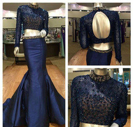 Barato Luva Longa De Vestido Preto Brilhante-2017 Black Two Pieces Prom Dresses Sparkly Beaded High Neck Long Sleeve Mermaid Skirt Evening Gowns Plus Size Formal Party Dresses