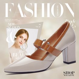 Ankle Chain Pumps NZ - With Box New leather Women Dress Shoes Heel Pointed Toes Ankle High Heel Classic women high heel shoes Chains female zip Shoes Size 34-40 34