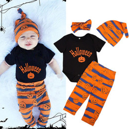 spring carnival 2018 - Halloween Newborn Baby Boy Girl Clothes Romper Pants Hat Headband 4pcs Pumpkin Outfits Set Cute Kid Cotton Clothing Hall